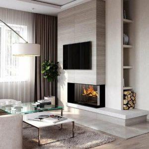 Гостиная с камином в современном стиле: идеи дизайна интерьера